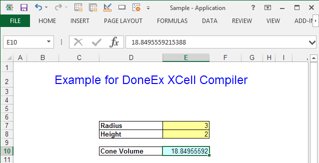 Compiled appication doens't show formula in E10 cell.