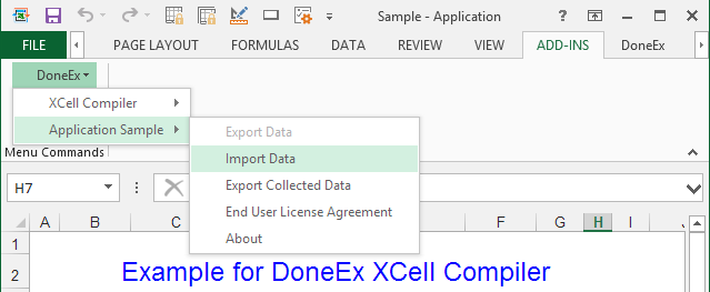 Compiled Application Export/Import menu