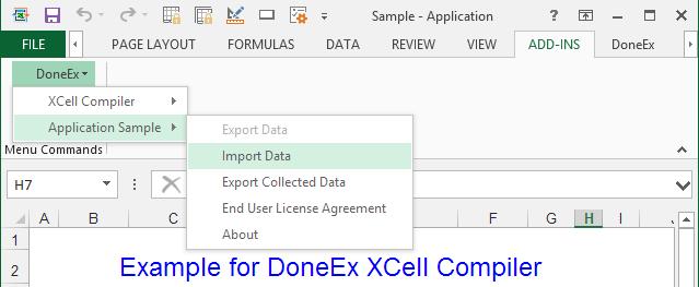 Compiled Application Export/Import menu
