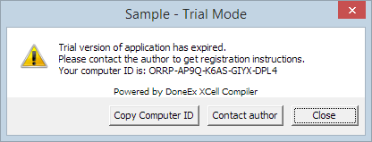Trial version expiration message