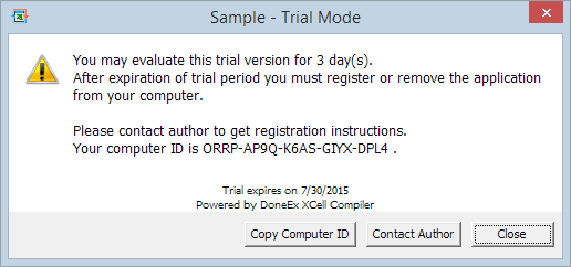 sample trial workbok warning