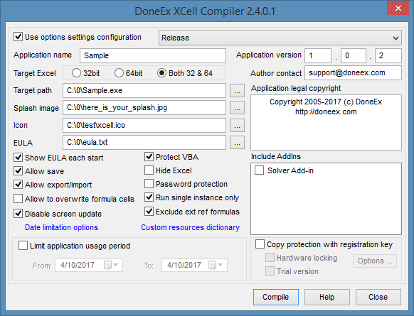 DoneEx XCell Compiler options