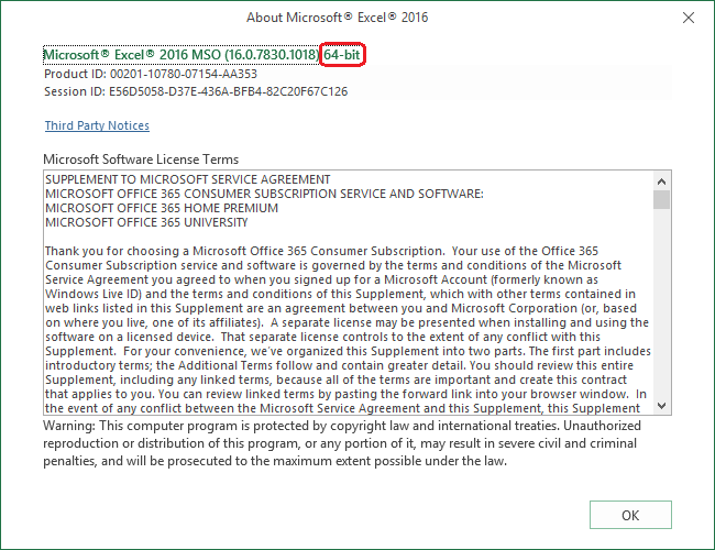 Microsoft Excel About Box with highlighted bitness