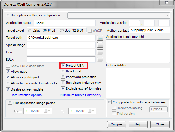 """Protect VBA code"" option in DoneEx XCell Compiler"