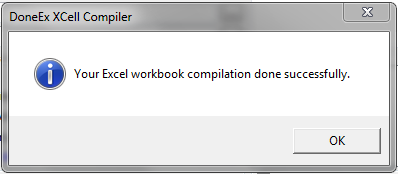 """Your Excel workbook complation done successfully"" window; At this point the VBA code is locked"