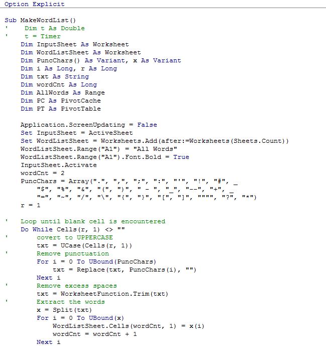 'MakeWordList' procedure original vba code
