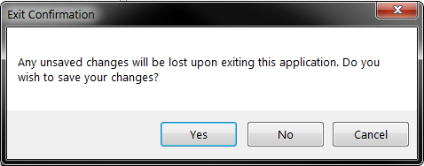 Installer Maker Exit Confirmation Prompt which asks if want to save and exit,exit without saving, or cancel the exit