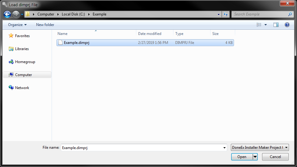 Load Browse Dialog browsed to C:\Example with Example.dimprj ready to load