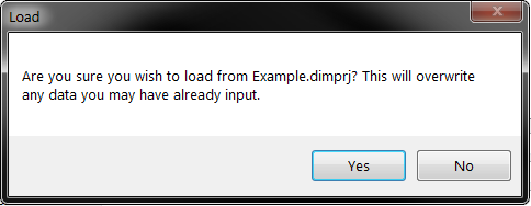 Load prompt asking the user if they want to overwrite current data in Installer Maker with the data contained in Example.dimprj