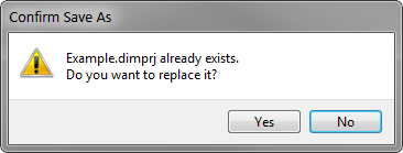 Save As overwrite prompt with Example.dimprj already existing