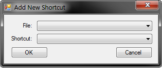 Add New Shortcut dialog with the File and Shortcut comboboxes empty.