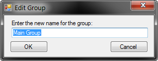 Edit Group dialog, with a text field filled in with Main Group and highlighted. This dialog is asking the user to Enter a name for the group with an OK and a Cancel button