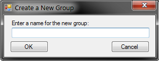 New Group dialog, with an empty text field asking the user to Enter a name for the new group with an OK and a Cancel button