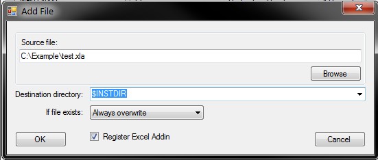 Add Excel add-in file window with 'Register Excel Add-In' check box button - Installer Maker